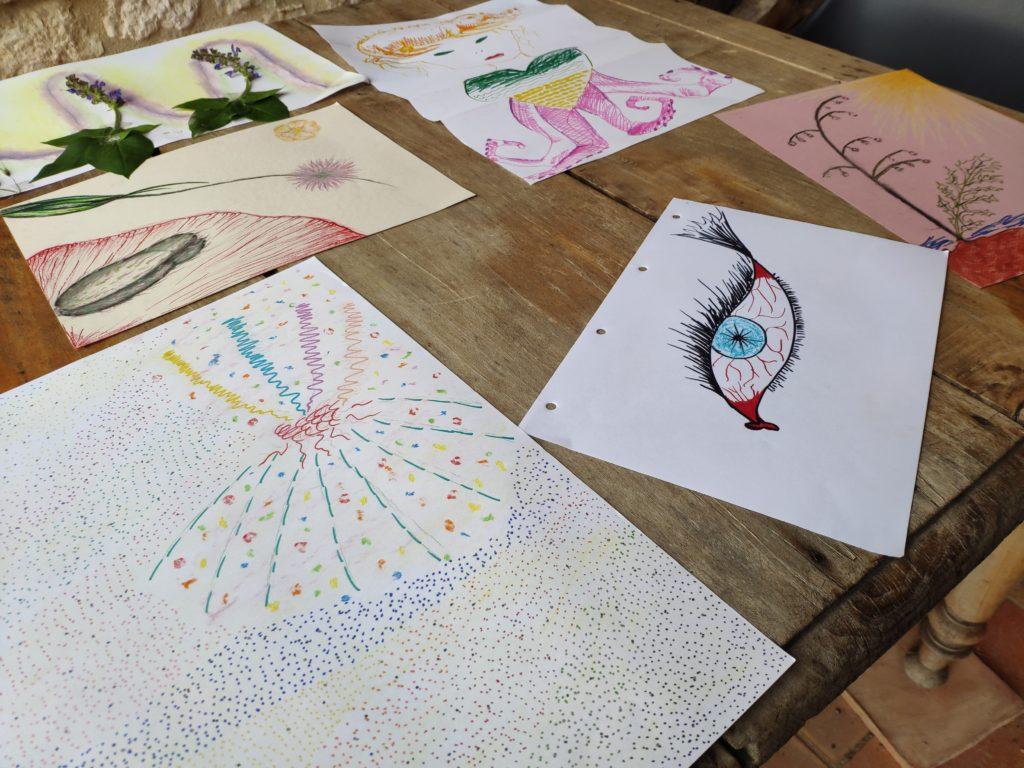 les travaux réalisés - atelier Points Traits Taches - 20 mai 2019 - Les crocodiles Jaunes