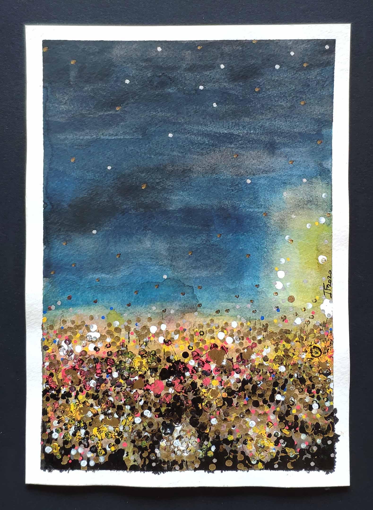 Lumières de nuit Toulouse #2 aquarelle et acrylique sur papier