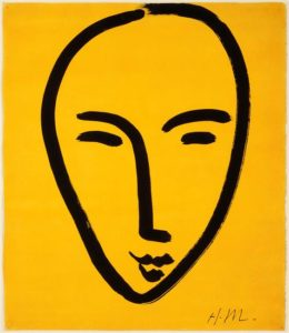 Visage sur fond jaune - Henri Matisse